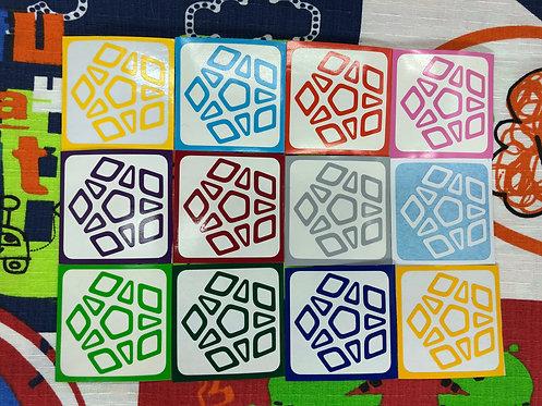 Stickers Megaminx QiYi Qiheng Outline outline vinil colores estándar