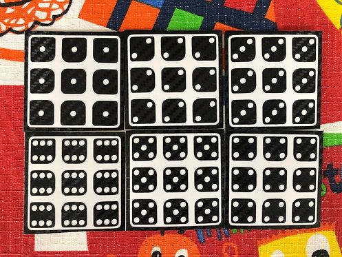 Stickers 3x3 Huanying fibra de carbono dominó negro