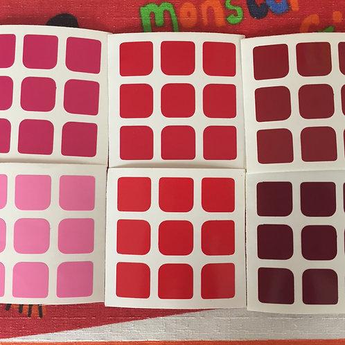 Stickers 3x3 vinil gradiente rojo rosa