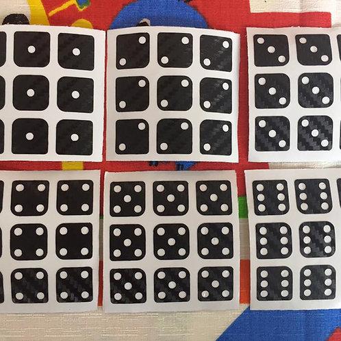Stickers 3x3 fibra de carbono dominó negro