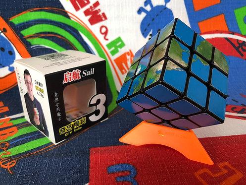 3x3 QiYi Sail mapa mundi azul base negra