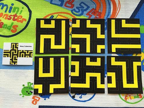Stickers 3x3 vinil maze laberinto negro con amaril