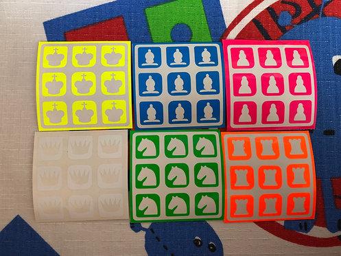 Stickers 3x3 ajedrez vinil fosforescente