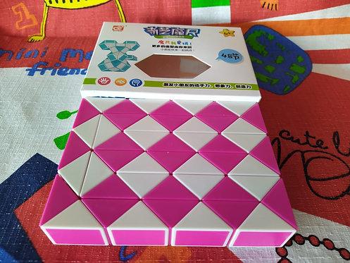 QiYi Twisty snake 48 piezas rosa con blanco