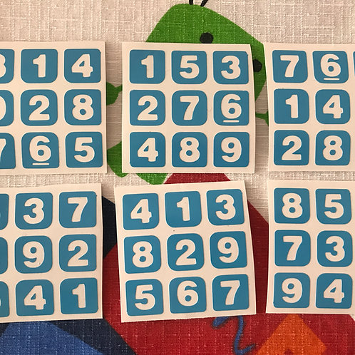 Stickers 3x3 vinil sudoku azul