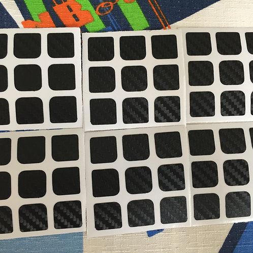 Stickers 3x3 fibra de carbono negro