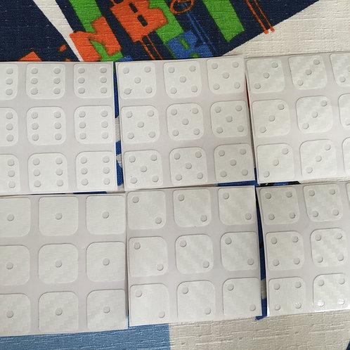 Stickers 3x3 fibra de carbono dominó blanco