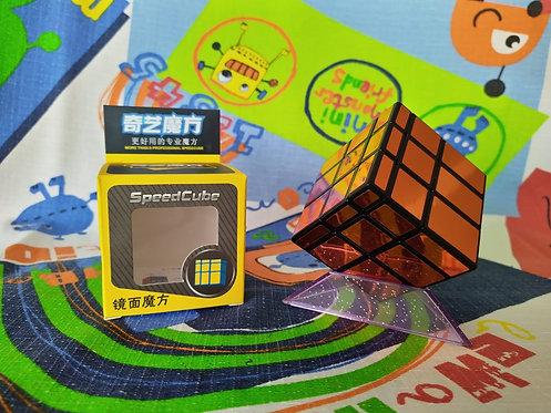 QiYi Mirror 3x3 base negra stickers naranja metálico