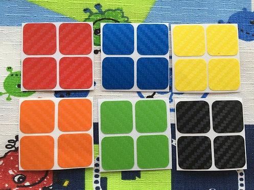 Stickers 2x2 fibra de carbono colores clásicos