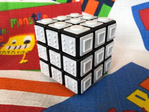 3x3 Rubik con tiles blancos impresas en 3D para armar a ciegas base blanca