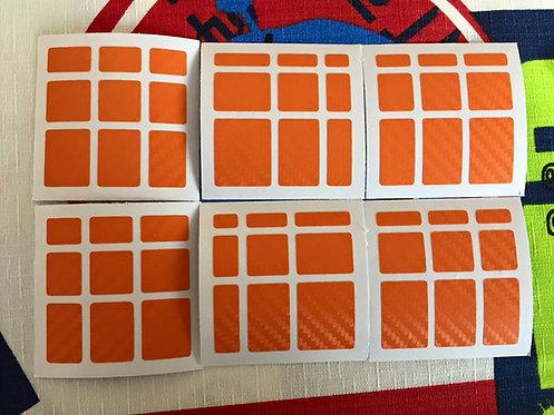 Stickers Mirror fibra de carbono naranja