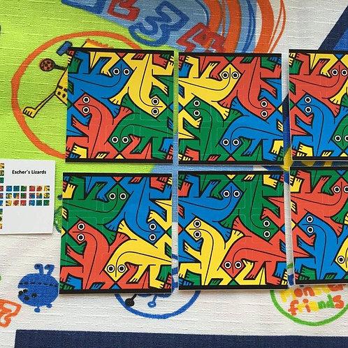 Stickers 3x3 vinil Escher's lizards