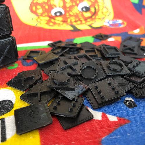 Set de tiles negras 3x3 para armar a ciegas impresas 3D