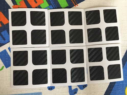 Stickers 2x2 fibra de carbono negro