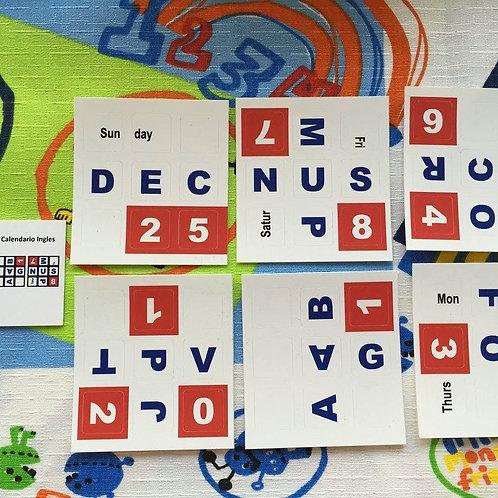 Stickers vinil Calendario inglés