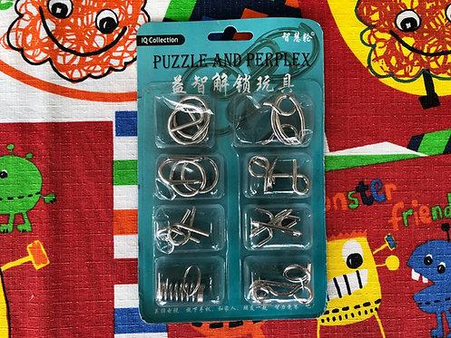 Paquete puzzles de metal empaque azul
