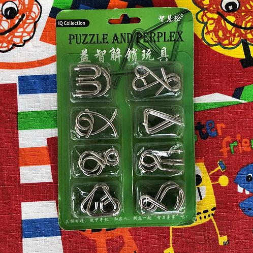 Paquete puzzles de metal empaque verde