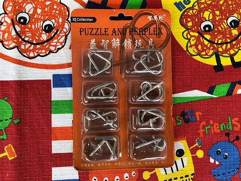 Paquete puzzles de metal empaque naranja
