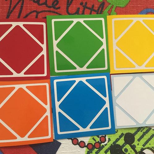 Stickers Skewb vinil colores estándar