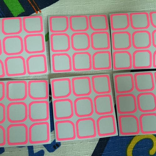 Stickers 3x3 outline caras rosas