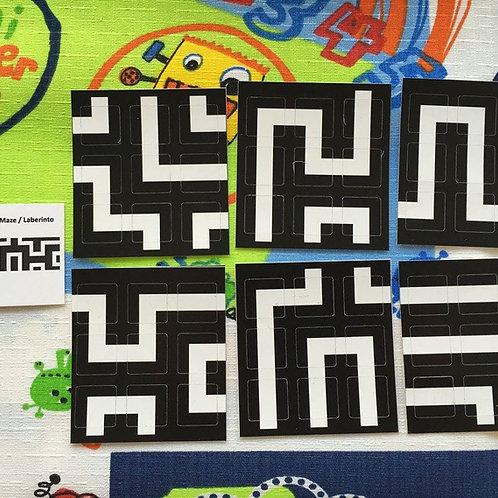Stickers 3x3 vinil maze laberinto negro con blanco