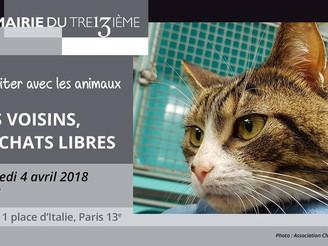 CONFERENCE DEBAT- Cohabiter avec les animaux : nos voisins, les chats libres - Mercredi 4 avril 18h