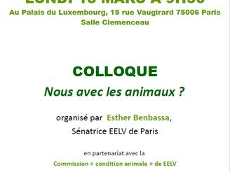 """Colloque """"Nous avec les animaux?"""", organisé par la Sénatrice EELV Esther Benbassa, le 18 m"""