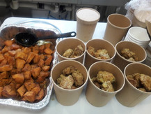 Sweet potatoes and southern fried chic'n almost ready to go!