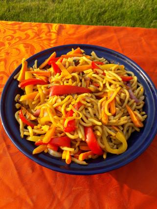 Mediterranean noodle dish