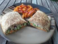 Chic'n sandwich wrap with sweet potato fries
