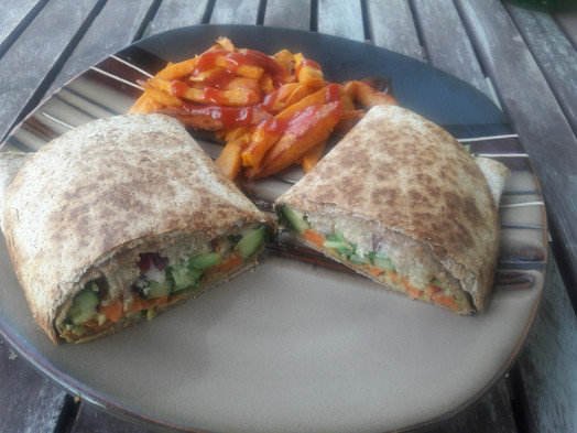 Chic'n sandwich wrap with sweet potato fries