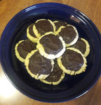 Sugar cookies with chocolate candy top