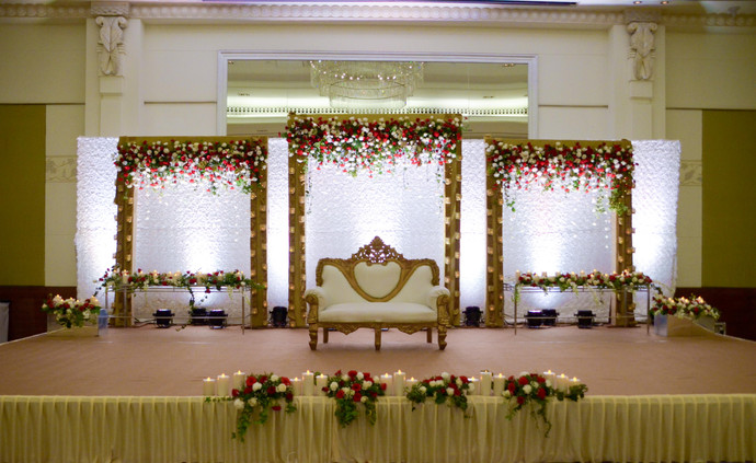 Beautiful stage backdrop for a wedding function with three panels