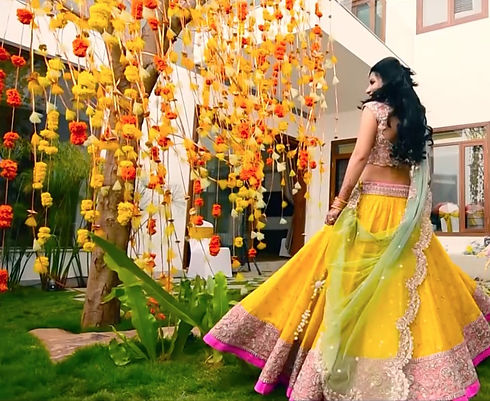 Indian Bride at her wedding in bright colours in Bangalore