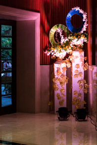A floral installation at a wedding function
