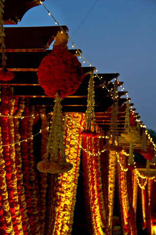 Marigold flower balls and hangings for a mehendi function in Bangalore