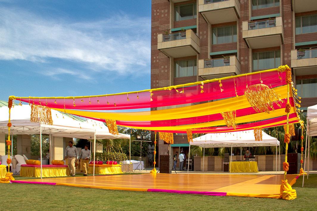 An open air wedding venue decor in Bangalore
