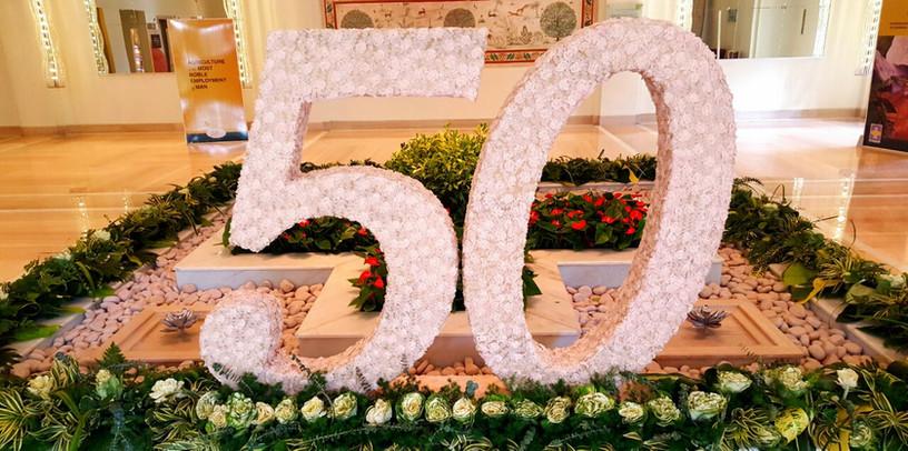 A decorative 50 for a companies 50th anniversary celebration