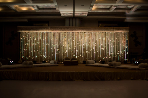 Stage decoration for a sangeet ceremony