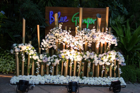 Pipe structure with flowers at a wedding in Bangalore