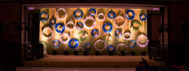 Floral backdrop for a sangeet ceremony
