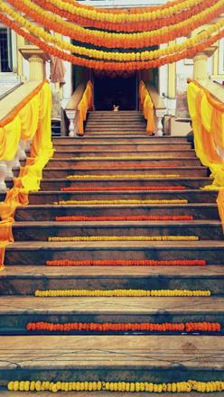 Bright flowers for a Punjabi Sikh wedding at a Gurudwara