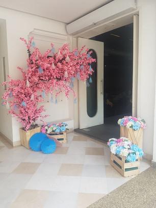 A unique cherry blossom decor for a baby shower