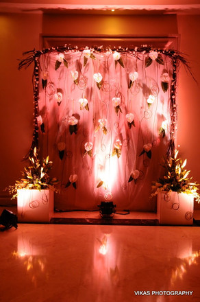 Photobooth with flowers set up for a Indian wedding