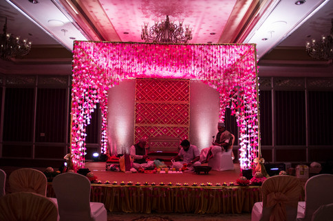 A mandap in shades of pink for a wedding