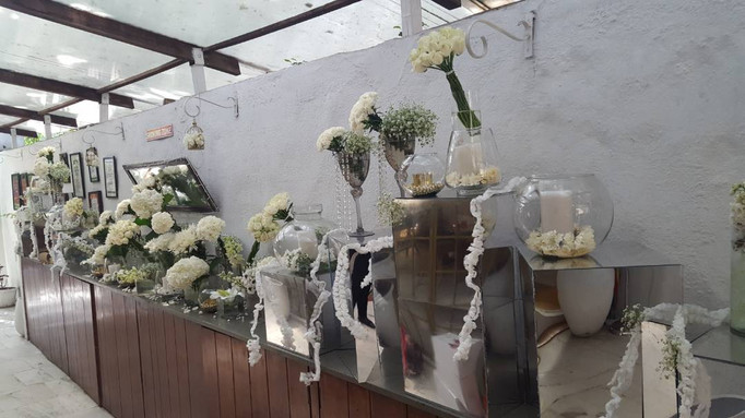 White flowers bunched together for this floral installation