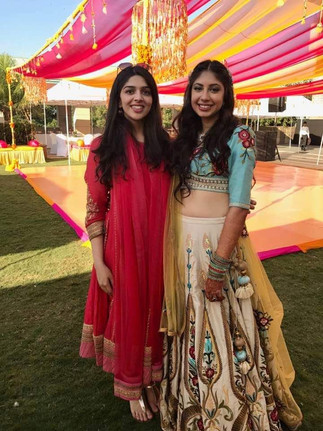 An Indian bride and her friend at a wedding function in Bangalore