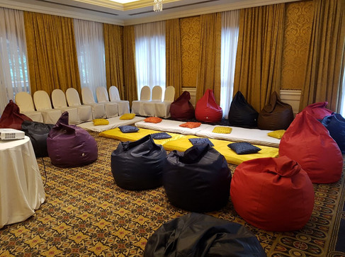 Informal seating with bean bags for a corporate event
