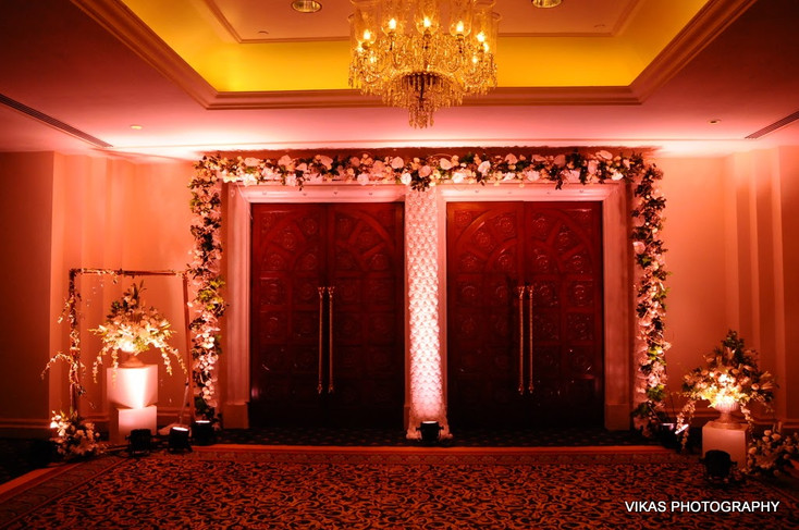Larger than life entrance decoration with flowers
