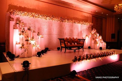 Breath taking floral backdrop for an Indian wedding reception
